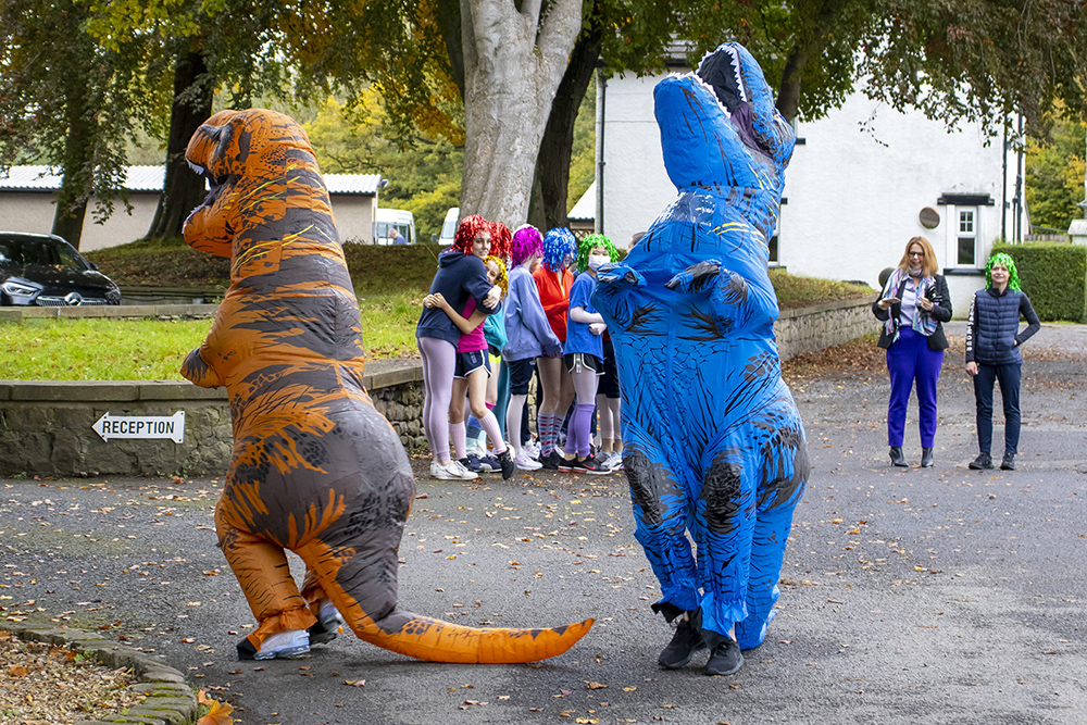 trex costumes with class behind