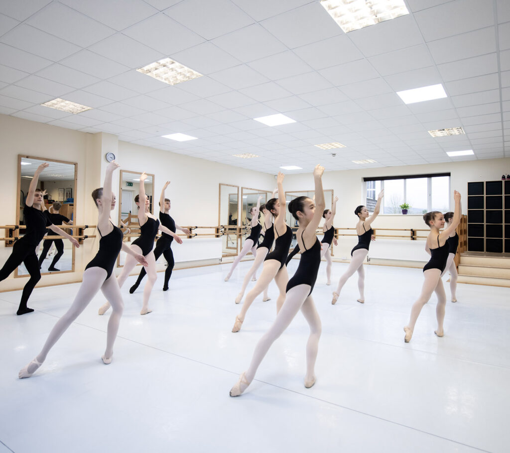 Ballet practice in black outfits