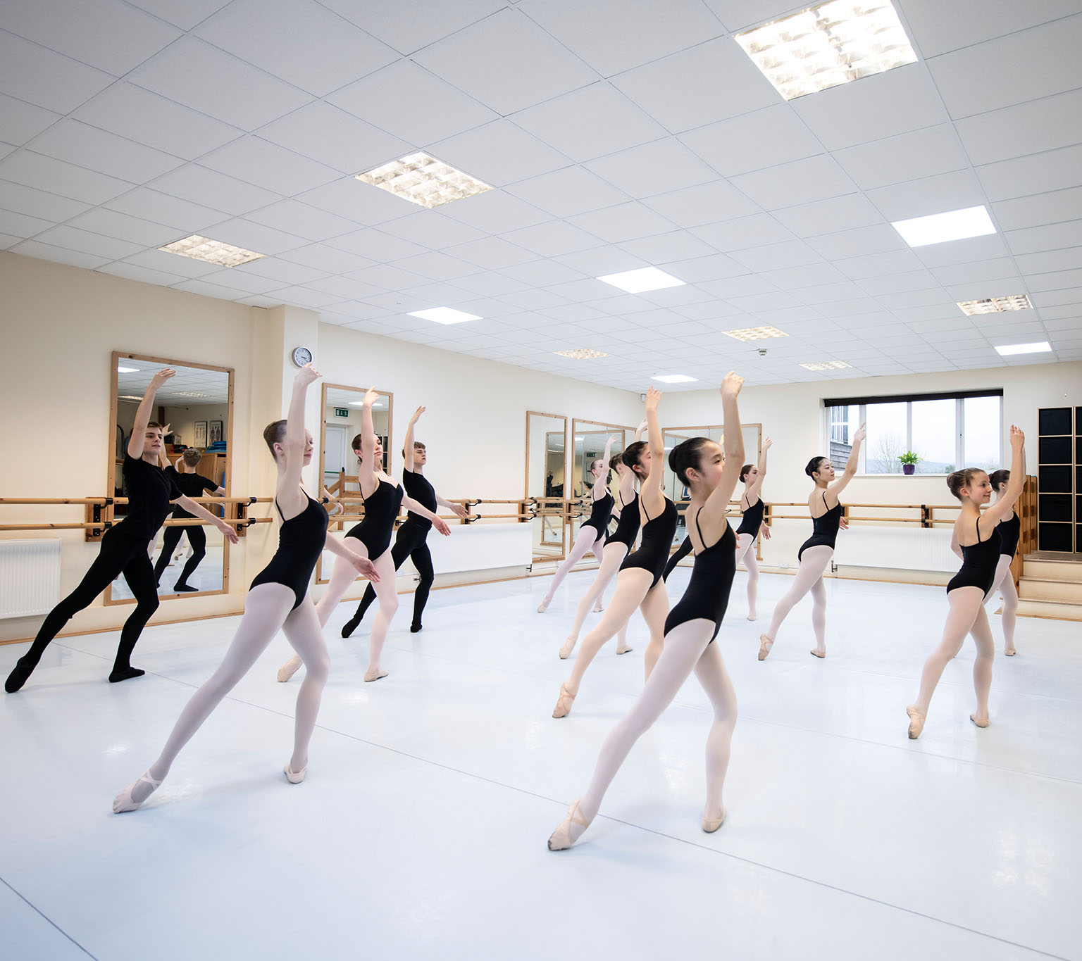ballet team practicing in sync