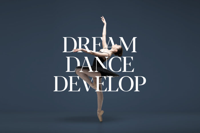 Ballet dancer with text dream dance develop