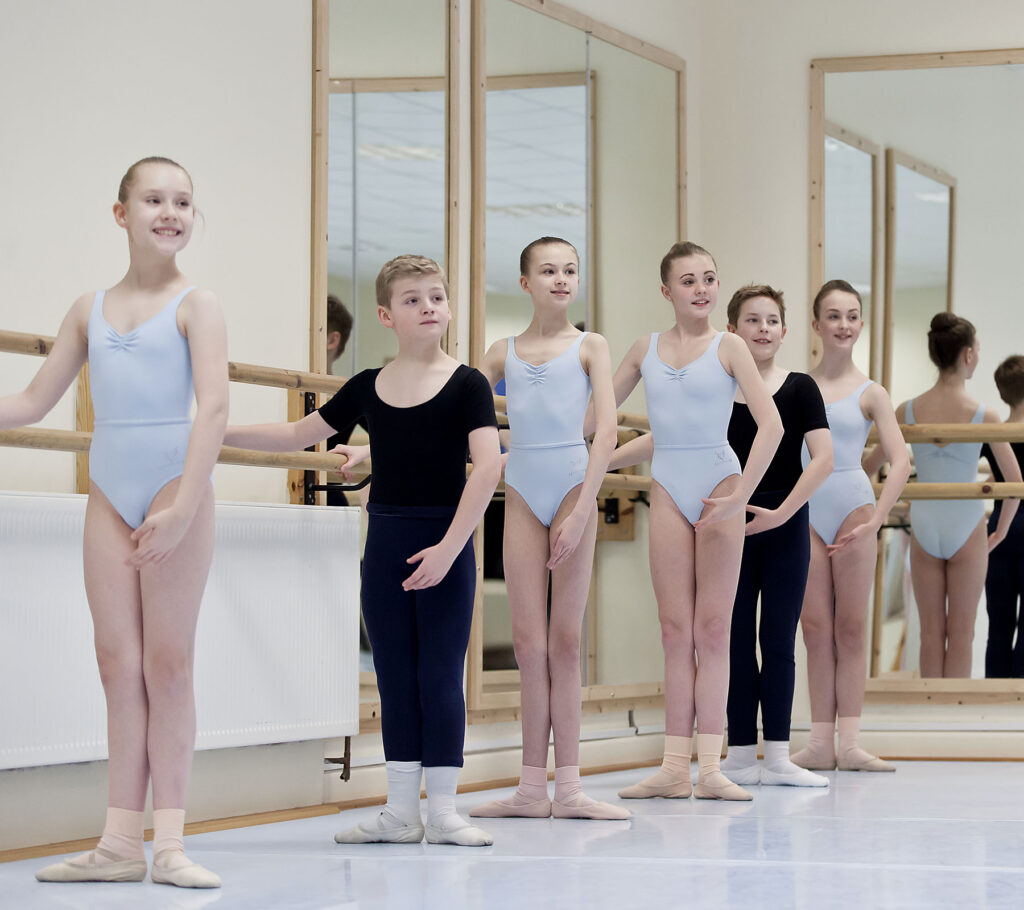 Ballet students in first position